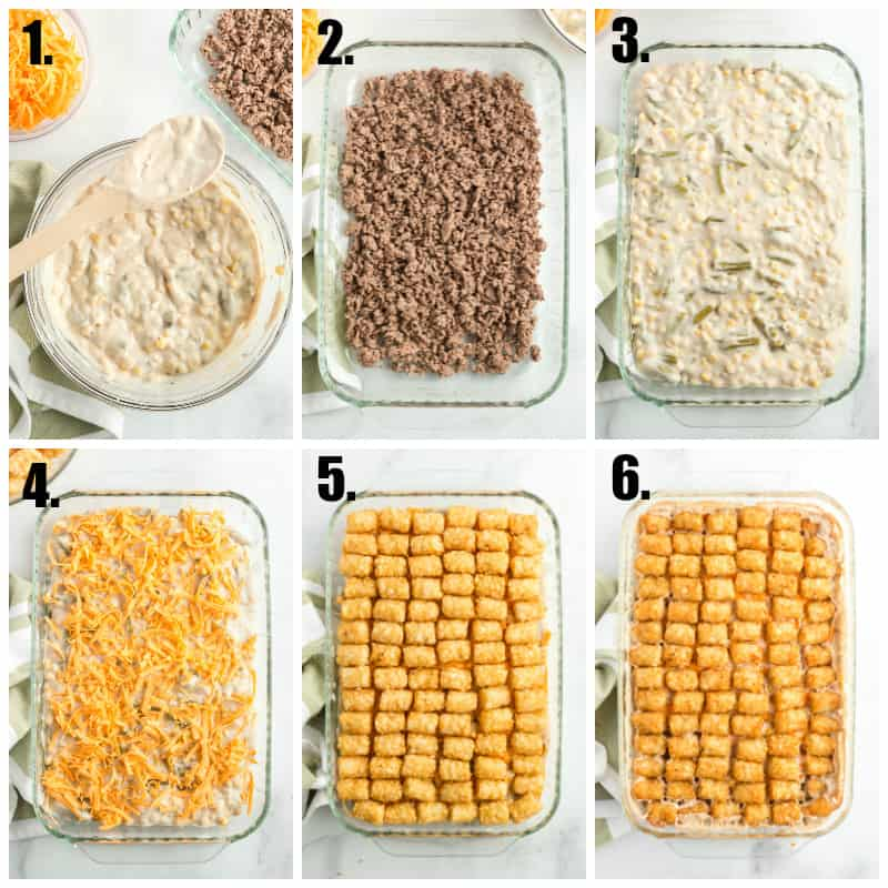 Step by step photos on how to make tater tot hotdish