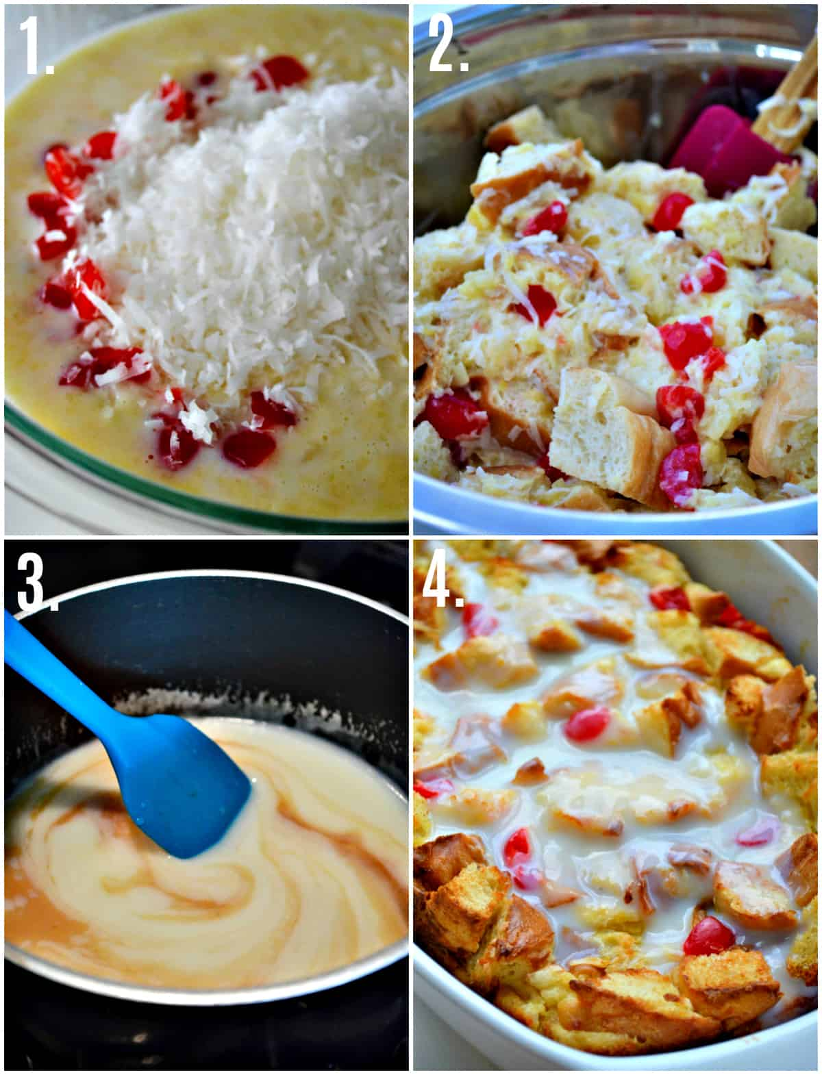 Step by step photos on how to make Pina Colada Bread Pudding