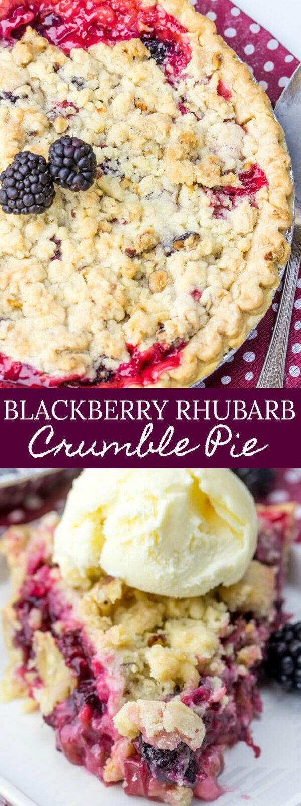 Blackberry Rhubarb Crumble Pie