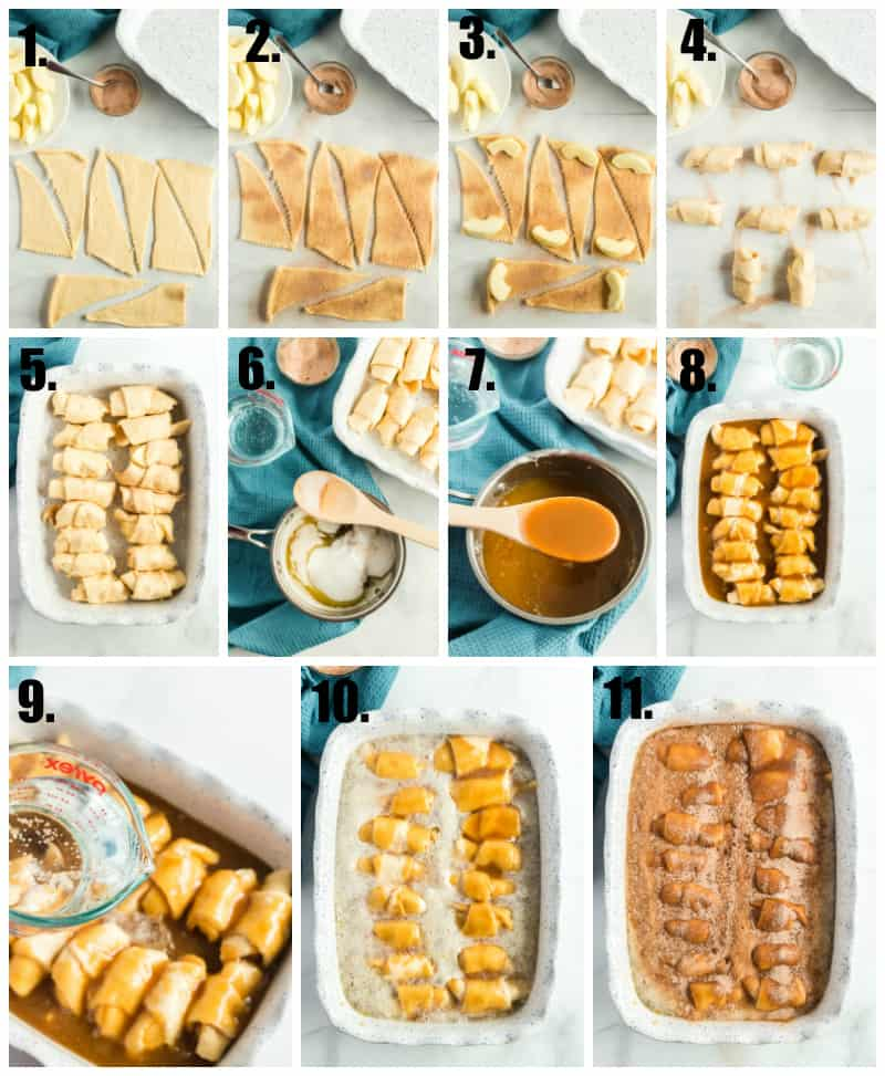 Step by step photos on how to make apple dumplings