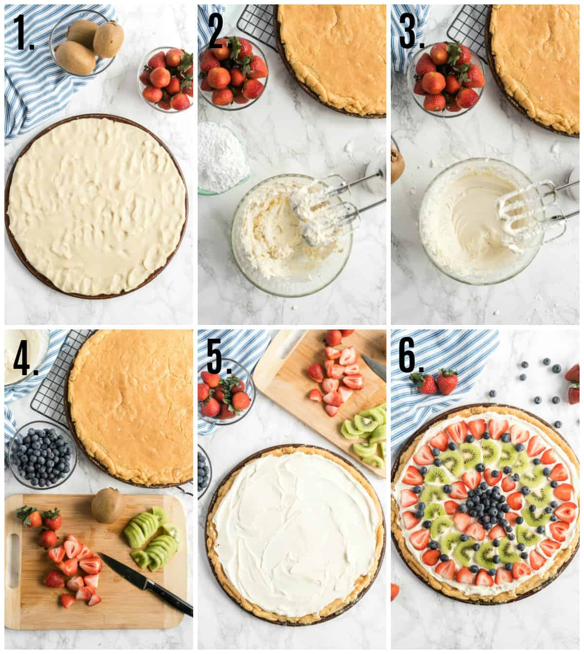Step by step photos on how to make fruit pizza