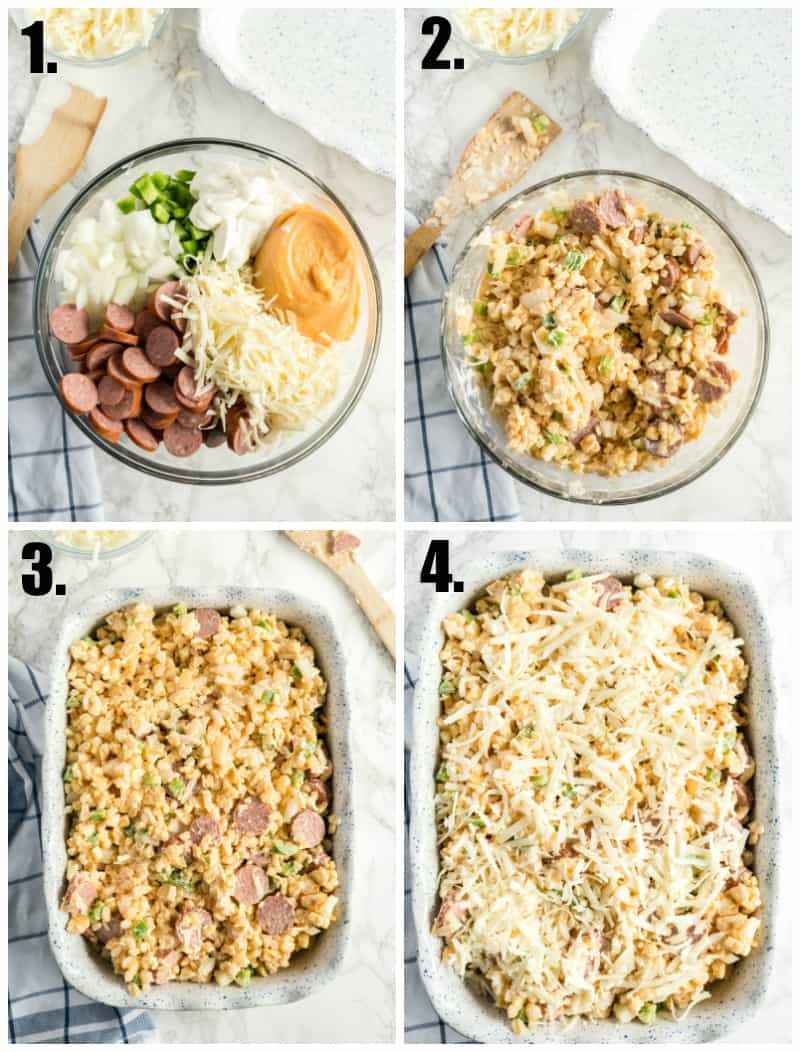 Step by step photos on how to make cheesy potatoes