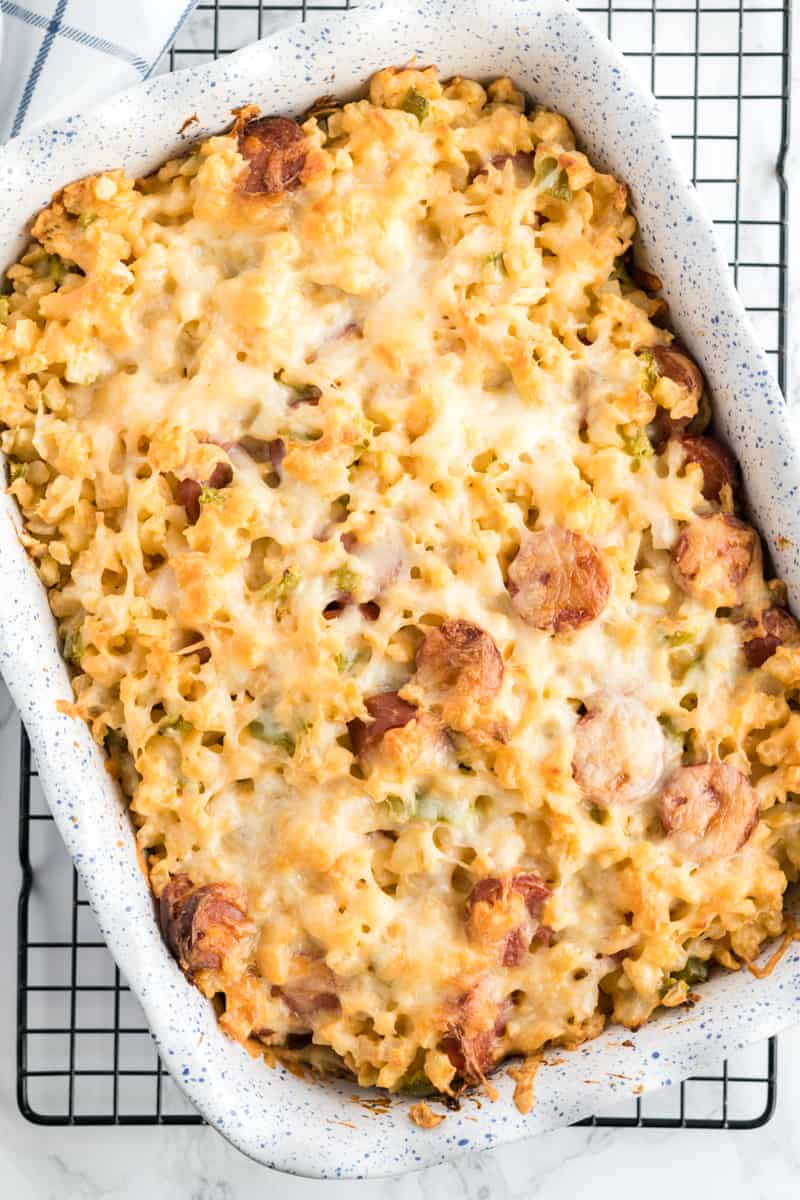 Overhead photo of Cheesy Potatoes in baking dish with melted cheese