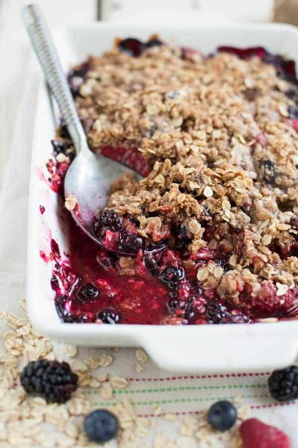 Give up the pre made store desserts and step in to sweet comfort food with this easy to make, no-fuss mixed berry crisp. Travels great, soothes your soul.