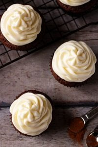 Lightly spiced double chocolate cupcakes combine peppery cayenne seasoning with rich dark chocolate and decadent white chocolate buttercream frosting.