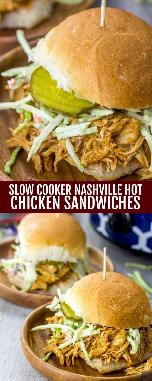Slow Cooker Nashville Hot Chicken Sandwiches