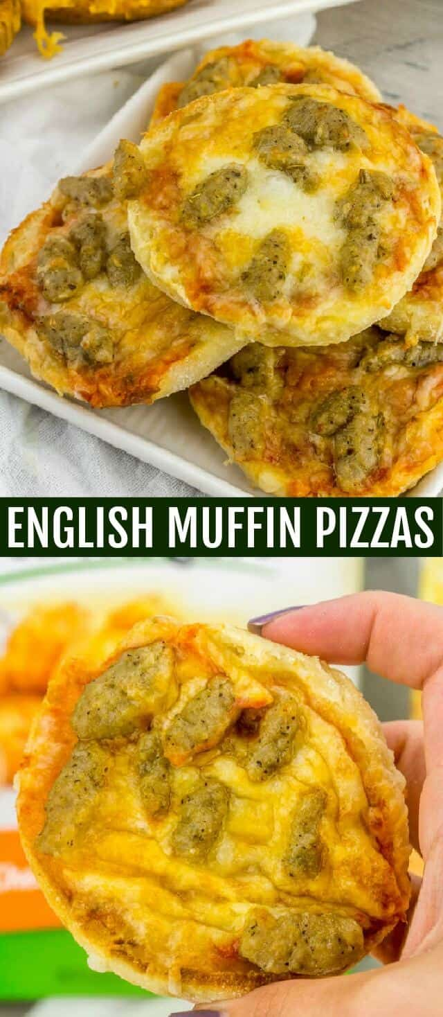 English Muffin Pizzas {An Easy Kid-Friendly Back to School Recipe} pizza/English muffin/back to school Simple, tasty and fun these English Muffin Pizzas are a kid-friendly favorite that contain 4 ingredients and are easily adaptable to customize for your favorite pizza toppings!
