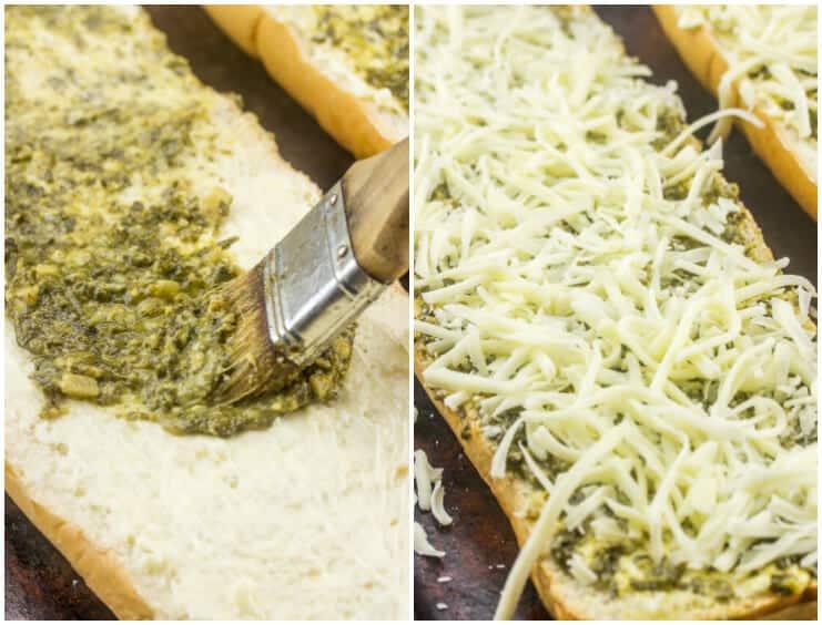 Cheesy Pesto Garlic Bread