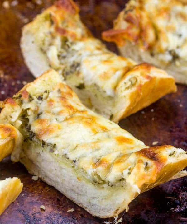 Cheesy Pesto Garlic Bread
