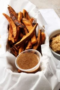 The next time you want a savory and sweet side dish, then try these sweet potato fries with cinnamon, heavy cream, and brown sugar dipping sauce.