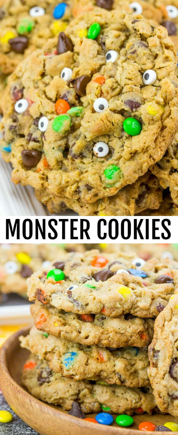 Monster Cookies {A Fun Halloween Treat for the Kids} cookies/monster cookies/halloween Soft, chewy and downright delicious these Monster Cookie are a fun and spooky recipe that the whole family will love.