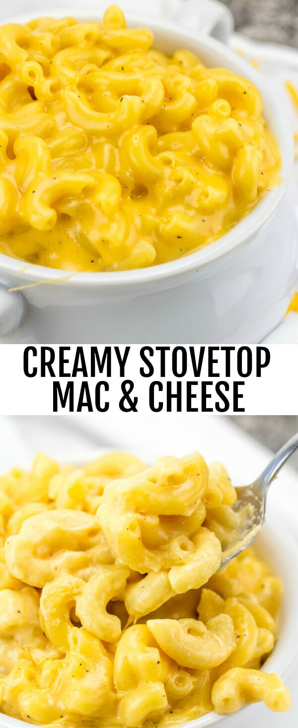 Cheesy, creamy and delicious this Creamy Stovetop Mac & Cheese is a addicting one pot recipe for the whole family. #macandcheese #pasta #cheese #cheesy #easy #stovetop