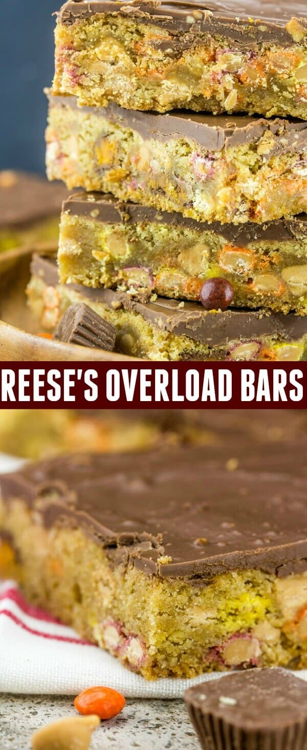 Loaded with peanut butter and chocolatey goodness these Reese's Overload Bars are your new go hand help treat!