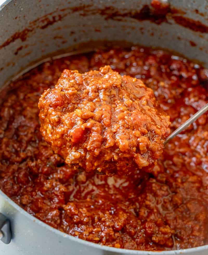 Finished spaghetti sauce in ladle