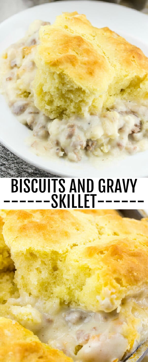 Biscuits and Gravy Skillet {A Delicious Breakfast, Lunch or Dinner Recipe} sausage/biscuits/breakfast Breakfast, lunch or dinner this Biscuits and Gravy Skillet is the perfect quick and easy meal for any time of day!
