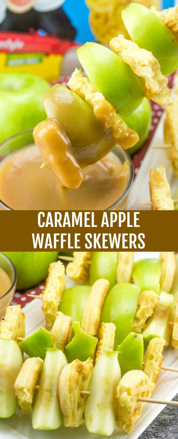 Caramel Apple Waffle Skewers {A Quick and Easy Fun Fall Snack} waffles/apples/caramel sauce Fun and easy these Caramel Apple Waffle Skewers are a quick and easy snack idea that the kids absolutely love and will have fun helping make!