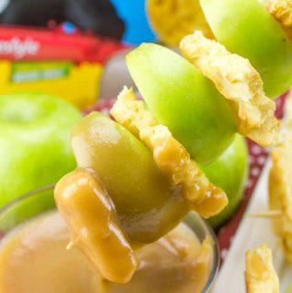 Caramel Apple Waffle Skewers