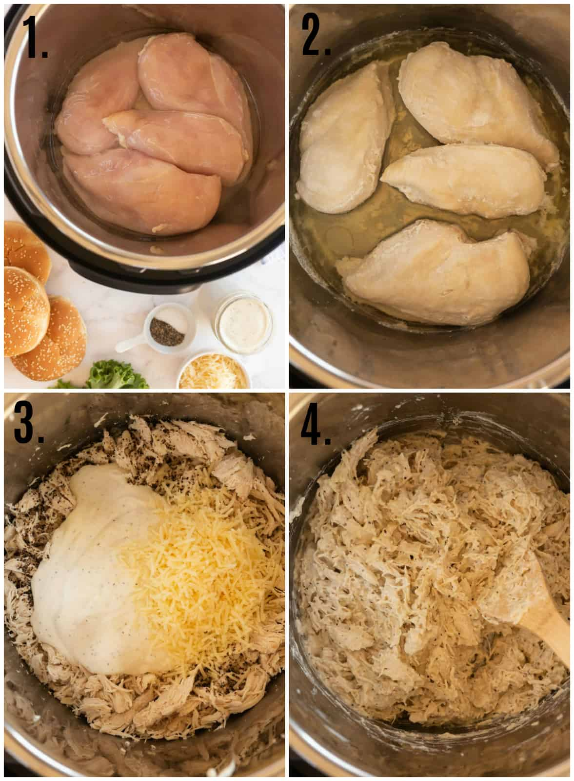 Step by step photo on how to make Instant Pot Chicken Caesar Sandwiches