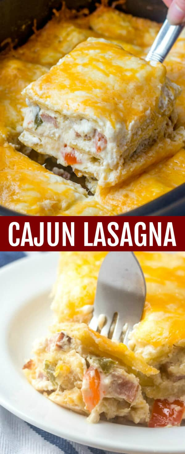Spicy, layered and creamy this Cajun Lasagna is a delicious and fun take on a traditional dish with a southern flair. #cajun #lasagna #recipe #pasta #chicken #sausage