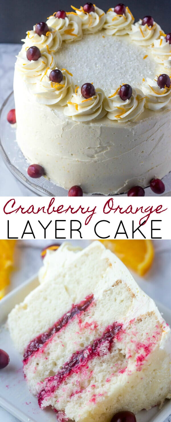 Cranberry Orange Layer Cake {A Fun Festive Holiday Cake} cranberry/orange/layer cake Layered high, this Cranberry Orange Layer Cake is filled with a sweet cranberry filling and frosted with an orange spiked buttercream frosting that will send your tastebuds to heaven.