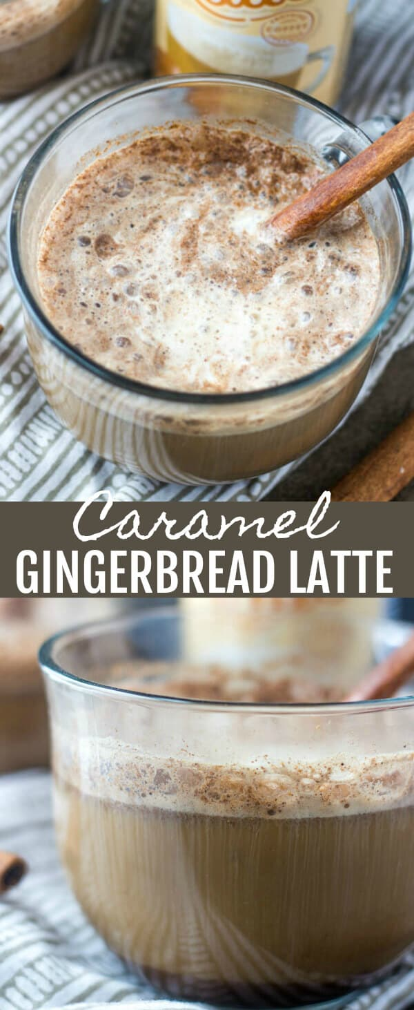 Caramel Gingerbread Latte {A Spicy Sweet Pick Me Up Drink} caramel/gingerbread/coffee Frothy, delicious and with a little bit of spice this Caramel Gingerbread Latte is the perfect way to warm up and wake up during the holiday season!