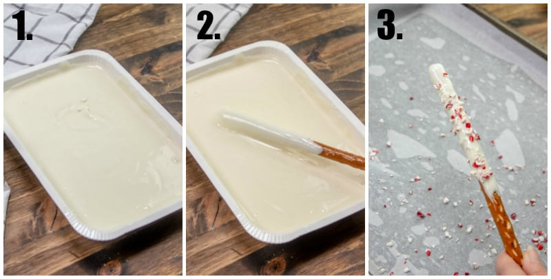 Step by step photos on how to make peppermint pretzel rods