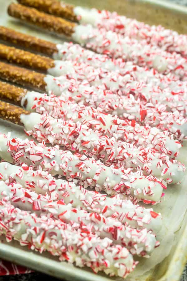 White Chocolate Peppermint Pretzel Rods