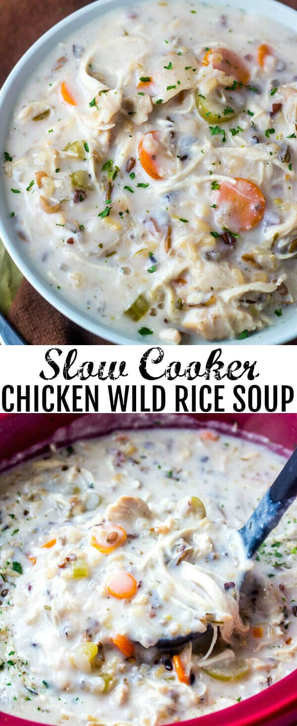 Slow Cooker Chicken Wild Rice Soup {A Warm Weather Comfort Soup}Creamy, hearty and filling this Slow Cooker Chicken Wild Rice Soup is the perfect comfort soup for those cool winter nights!