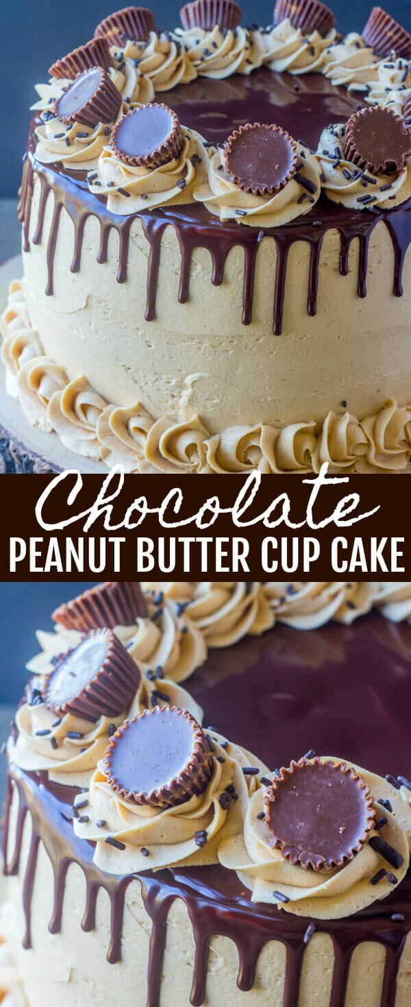 Chocolate Peanut Butter Cup Cake {Peanut Butter Chocolate Heaven} cake/peanut butter/chocolate Layers of chocolate and peanut butter make this Chocolate Peanut Butter Cup Cake a seriously tasty indulgent cake, perfect for any occasion!