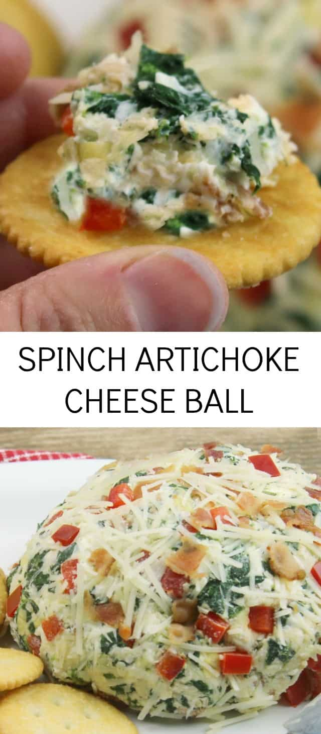 Spinach Artichoke Cheese Ball {The Perfect Party Appetizer} cheese ball/spinach/appetizer Cheese balls are always a real crowd pleaser wether you are serving them at a holiday gathering or for game day. Today I'm sharing an easy recipe for Spinach Artichoke Cheese Ball that was inspired by my favorite dip.