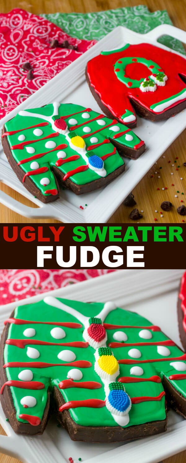 Ugly Sweater Fudge {The Perfect Fun Holiday Treat} fudge/chocolate/ugly sweater Who doesn't love some fun festive treats? Well with this Ugly Sweater Fudge you can make your holidays just a little bit more fun and entertaining!