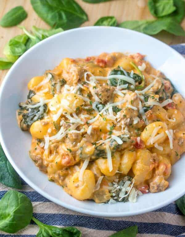 sausage gnocchi, one pot, creamy sausage gnocchi, one pot meal, easy dinner