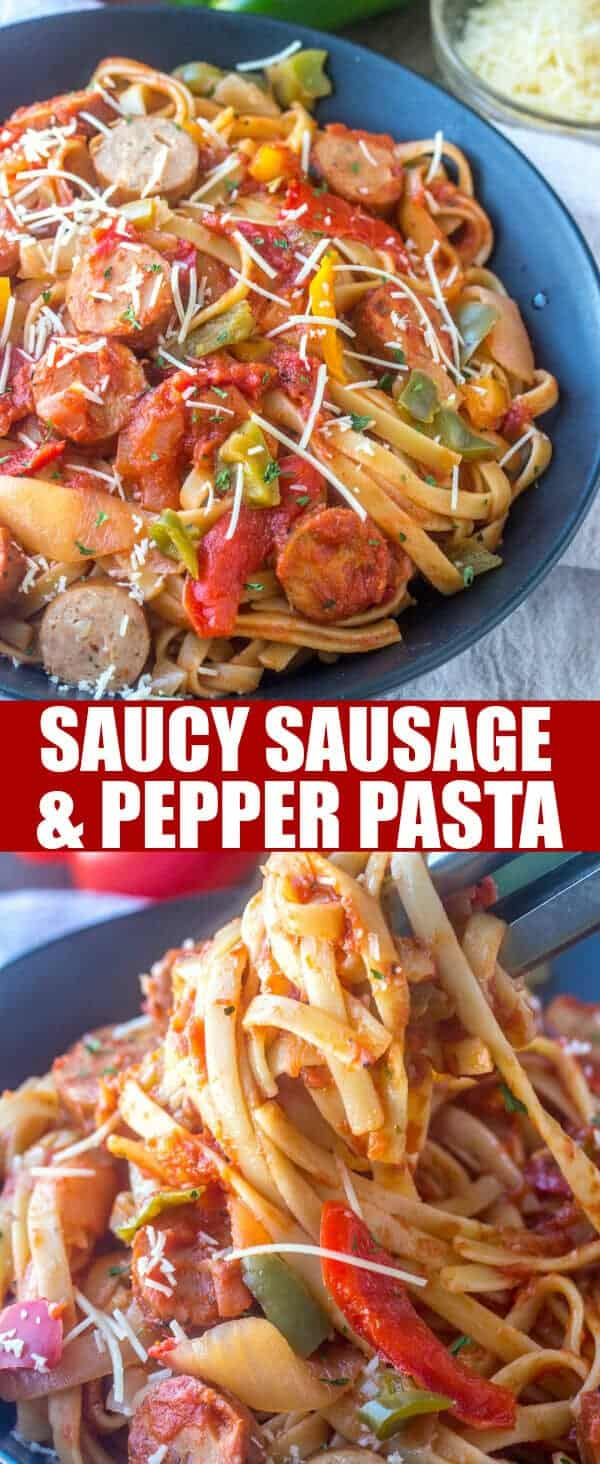 You'll enjoy the freshness of this easy Saucy Sausage and Pepper Pasta! It comes together in under 30 minutes and feeds a crowd!
