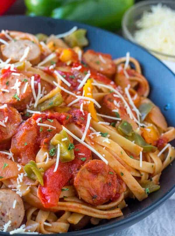 Saucy Sausage and Pepper Pasta, sausage and pepper, sausage pasta, chicken sausage