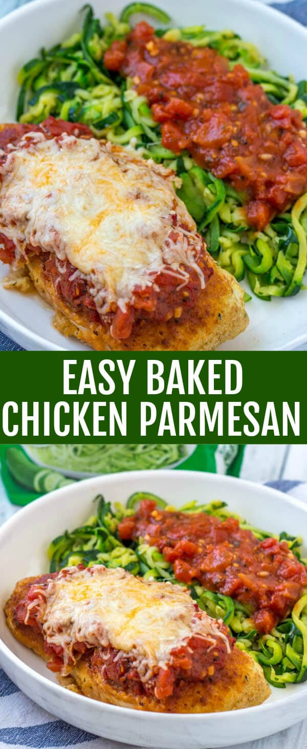 This Easy Baked Chicken Parmesan with Zucchini Noodles is a delicious filling and healthy dinner that the whole family can and will enjoy! #veggieswapins #ic #ad #chicken #chickenparmesan #easy #baked
