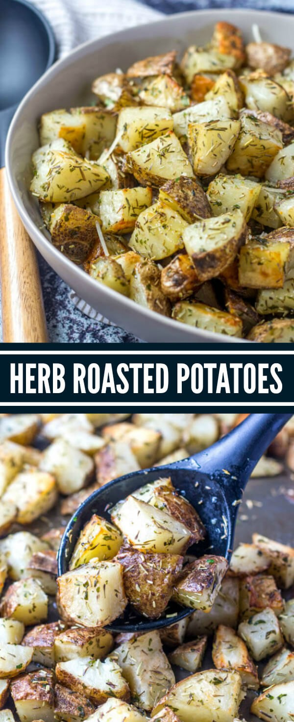 Herb Roasted Potatoes are the perfect side dish to any meal. Easy to whip together and minimal effort, these potatoes are an easy side dish recipe that everyone loves. #potatoes #sidedish #roasted #herbs #garlic