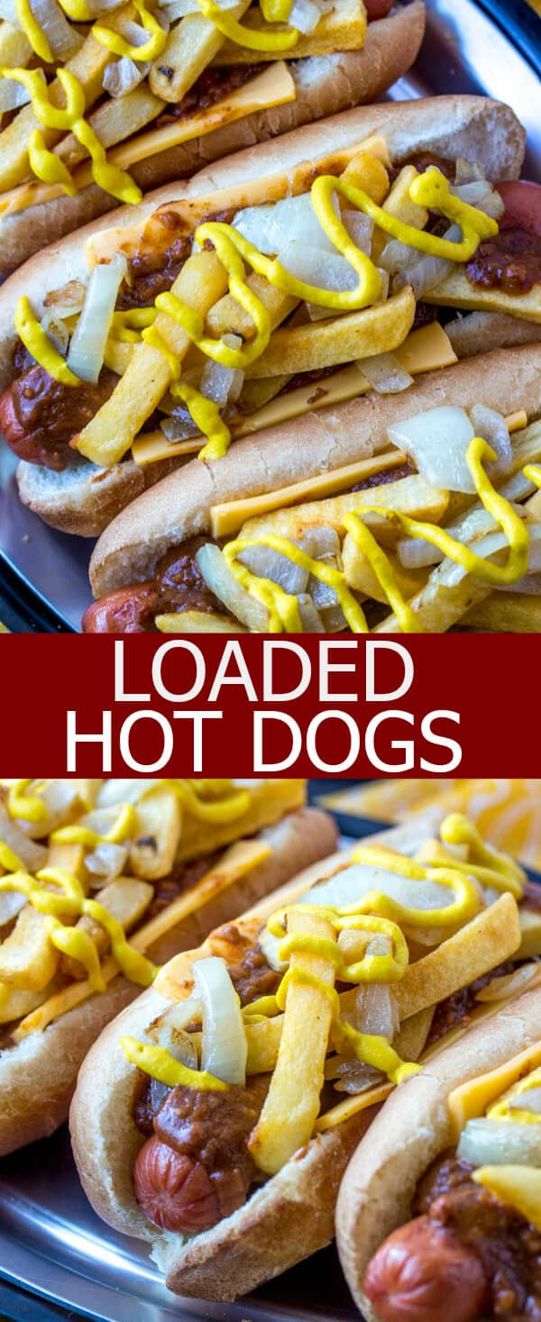 These Loaded Hot Dogs are a serious mouthful! Packed full of chili, cheese, fries, onions and mustard they are everything plus the kitchen sink!