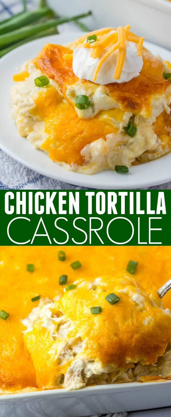 Hearty and tasty this Chicken Tortilla Casserole is an easy family-friendly dish that whips up quickly, and feeds a crowd! #casserole #chicken #tortilla #mexican #hotdish #cheese #easydinner #easymeal