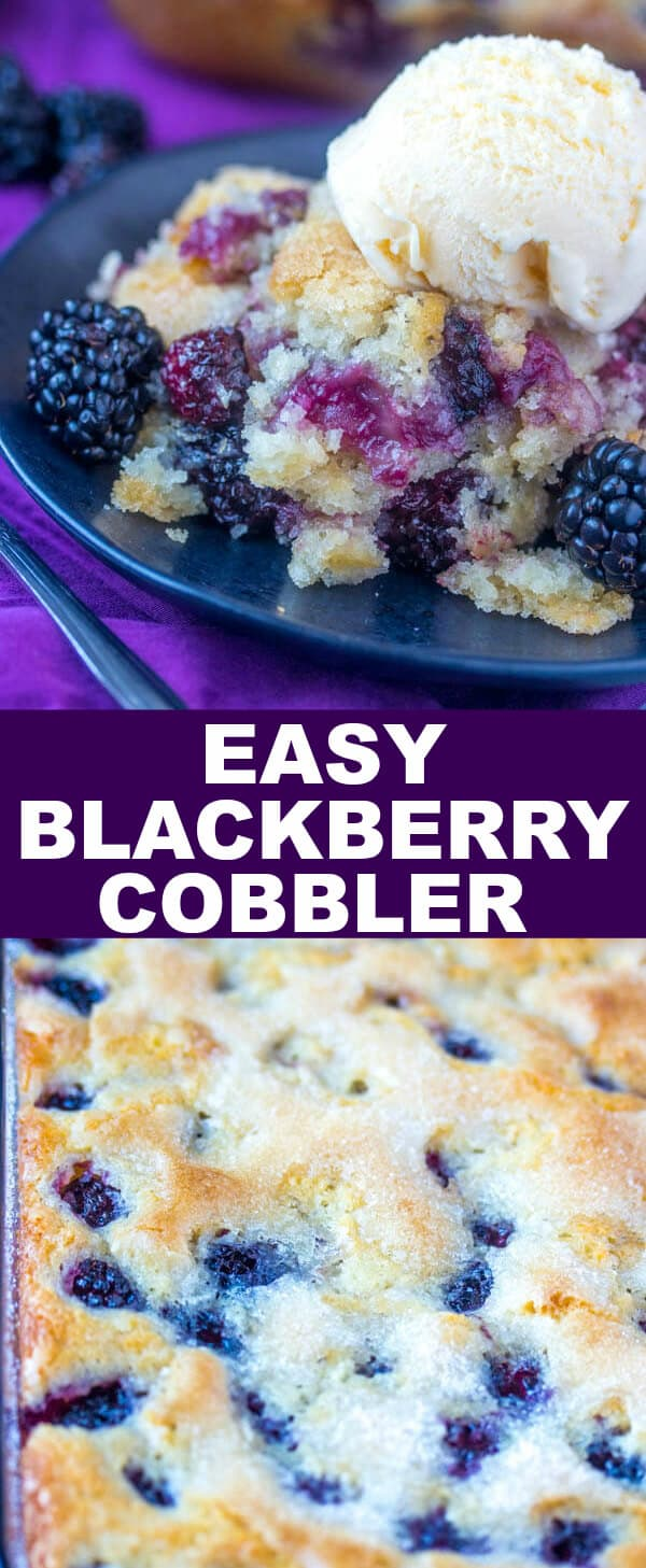 Quick, easy and fresh this Easy Blackberry Cobbler is a fun go-to dessert that the uses minimal ingredients and whips up in a flash. #cobbler #dessert #blackberries #berries #quick #baking #baked #fruit