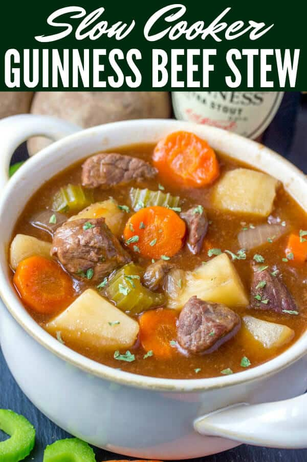 Warm, comforting and delicious this Slow Cooker Guinness Beef Stew is full of vegetables, spices and beer! The perfect comforting stew recipe. #stew #beefstew #irishstew #guinness #slowcooker #crockpot #hearty #easy #delicious