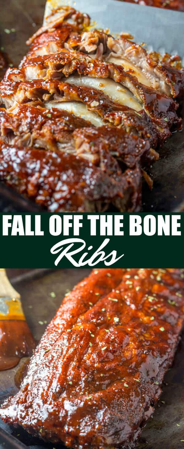 These Fall Off The Bone Ribs are a simple recipe that is baked low and slow in the oven creating a tender, juicy and flavorful bbq dinner. #ribs #oven #BBQ #baked #pork #falloffthebone #dinner #easy #barbeque
