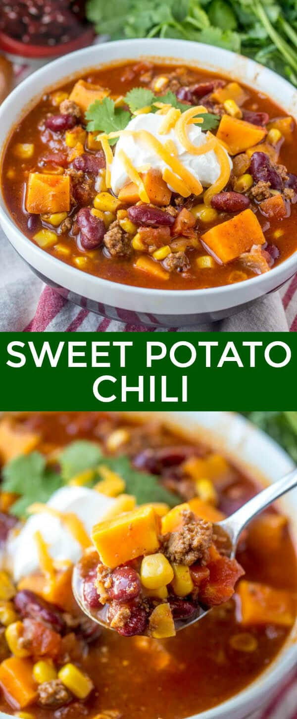 This Sweet Potato Chili is quick, easy and delicious. Full of wholesome goodness this is a family hit that keeps your belly full! #chili #sweetpotato #turkey #soup #easy #quick