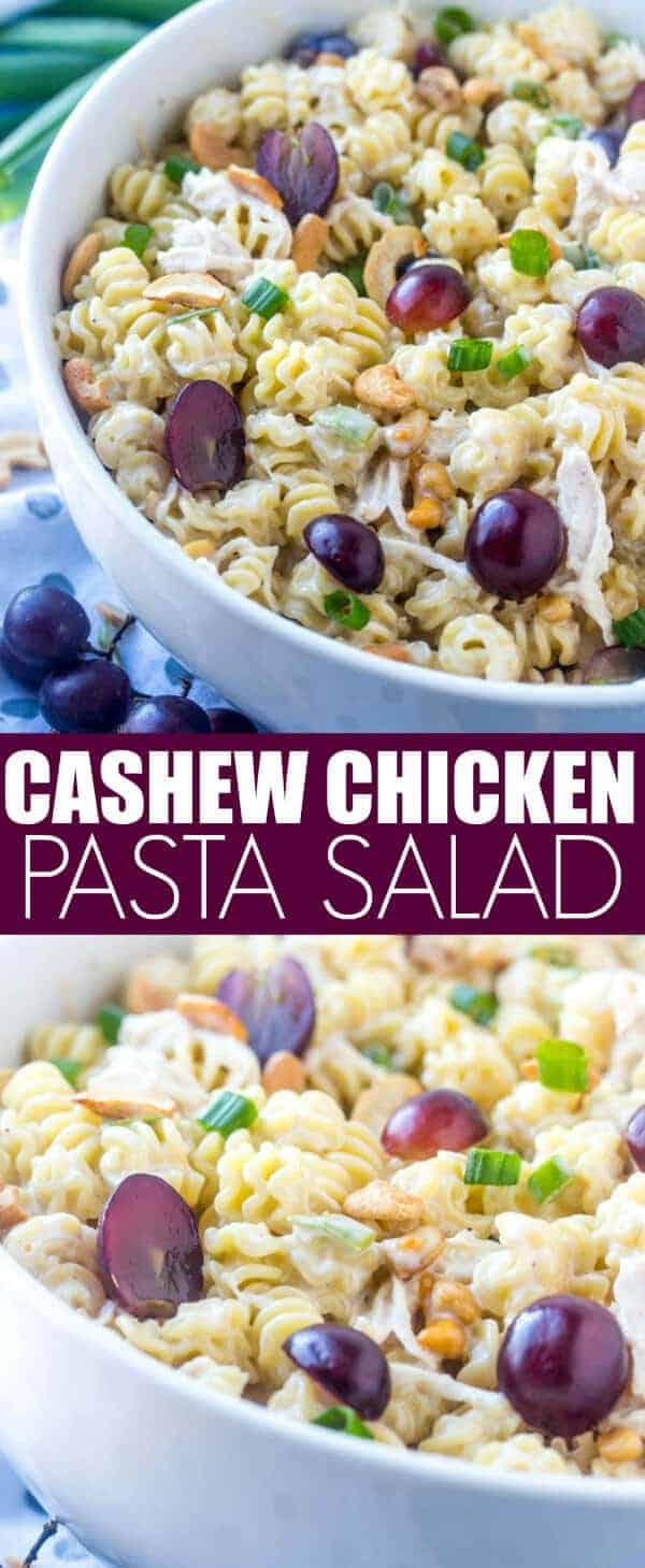 Easy, tasty and filling this Easy Cashew Chicken Pasta Salad is a fun and delicious Spring and Summer salad recipe that is great for a crowd!