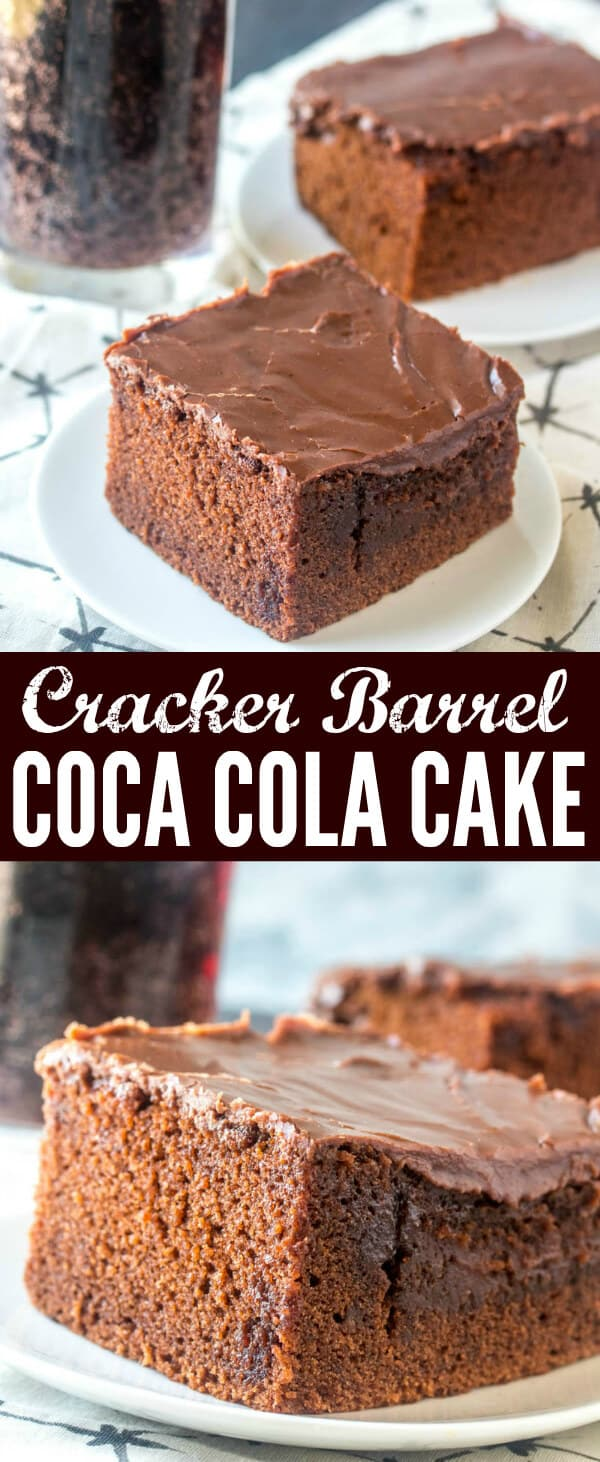 Rich, moist, chocolatey and delicious this Copycat Cracker Barrel Coca Cola Cake is an easy and tasty recipe that everyone falls in love with.  #cake #chocolatecake #crackerbarrel #doublefudgecake #chocolate #baking #baked #copycat