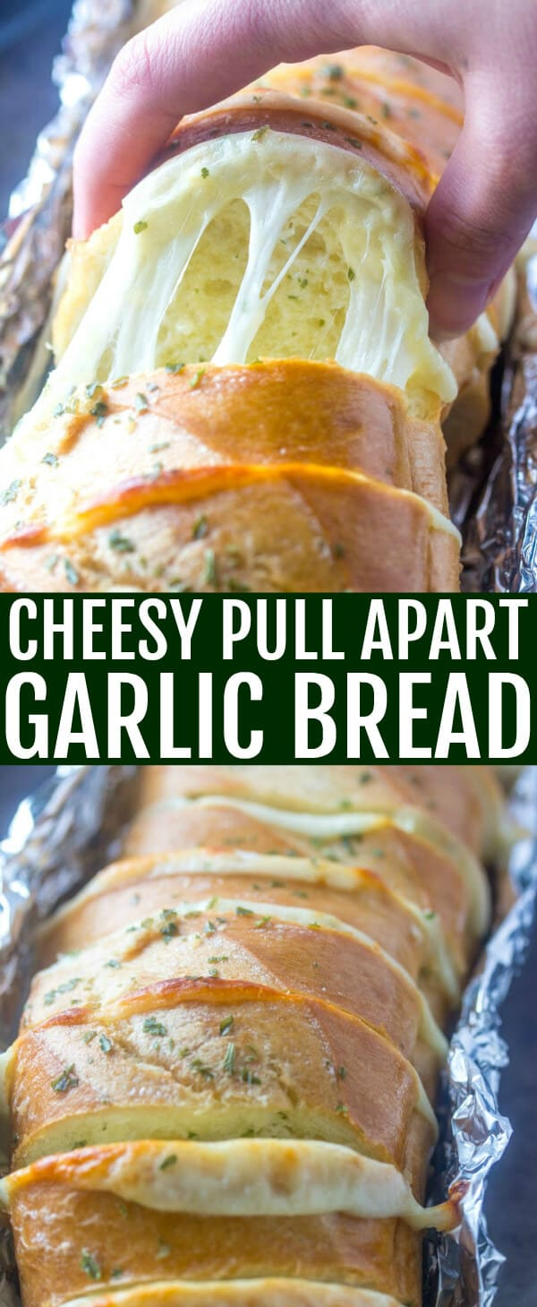 Love ooey, gooey goodness? This Cheesy Pull Apart Garlic Bread is a fast, family-friendly recipe that is filled with cheese, butter and garlic! #bread #garlicbread #sidedish #cheese #cheesy #garlic #easyrecipe