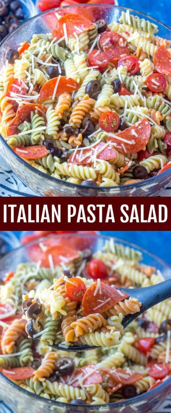 Perfect for potlucks this Italian Pasta Salad is a zesty and flavorful salad recipe that is full of tomatoes, pepperoni, black olives and Parmesan cheese all coated in a tasty Italian dressing. #pasta #pastasalad #pepperoni #olives #quickrecipe #easy #potluck #picnic