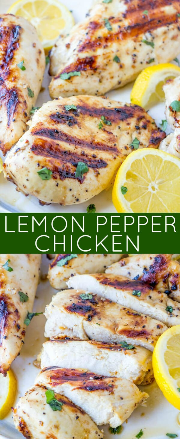 Grilling season is in full swing and you can't go wrong with this classic and easy Lemon Pepper Chicken that is baked or grilled and perfect for a crowd! #grilling #chicken #lemon #pepper #picnic #easyrecipe