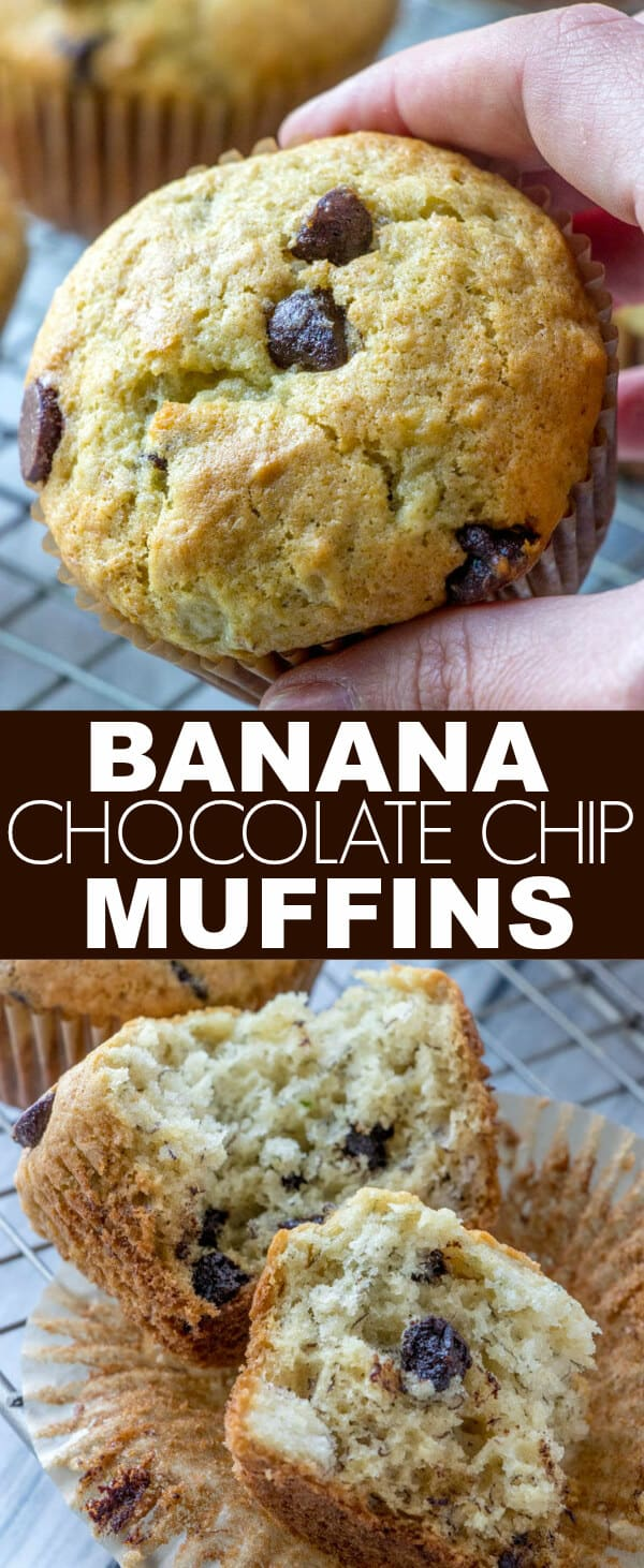 These Easy Banana Chocolate Chip Muffins are the best, easy, moist and flavorful breakfast treats that feed the whole family! Fun for everyone and are kid-friendly! #chocolatechip #breakfast #muffins #banana #baking