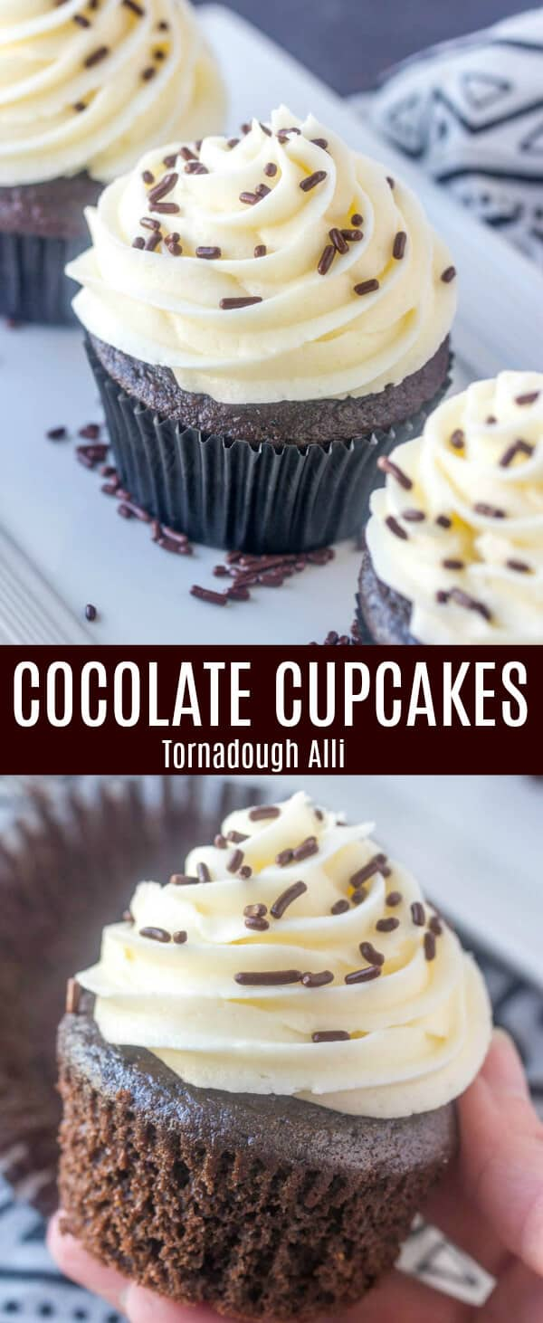 Basic, easy and delicious these Chocolate Cupcakes are a staple recipe to have in your baking arsenal. Rich, fluffy and tasty! A classic treat. #cupcakes #cupcake #baking #chocolate #sprinkles #buttercream #frosting
