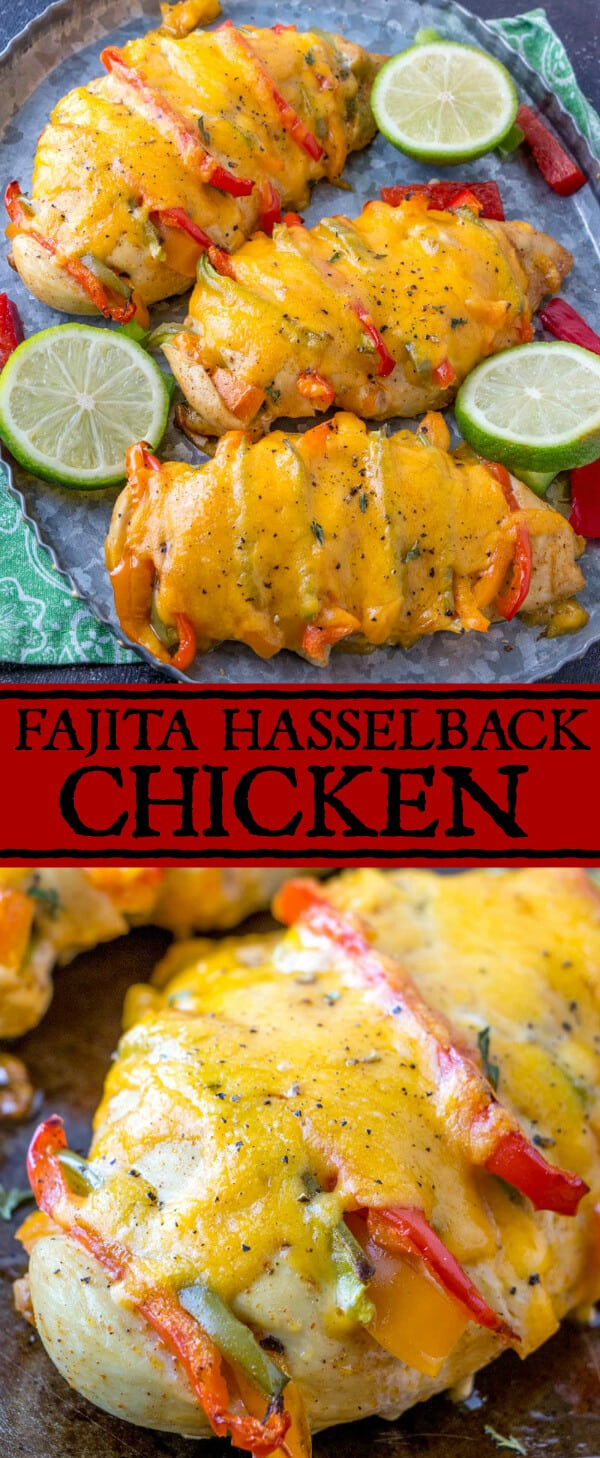 This Fajita Hasselback Chicken takes all the favorite flavors of your traditional chicken fajitas and combines them into one delicious, filing and flavorful dish! #chicken #fajita #mexican #delicous #recipe #food #tacotuesday